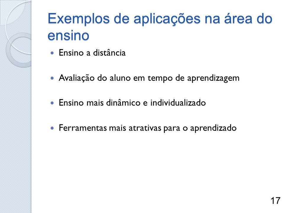 Exemplos de aplicações na área do ensino Ensino a distância Avaliação do aluno em tempo de aprendizagem Ensino mais dinâmico e individualizado Ferrame