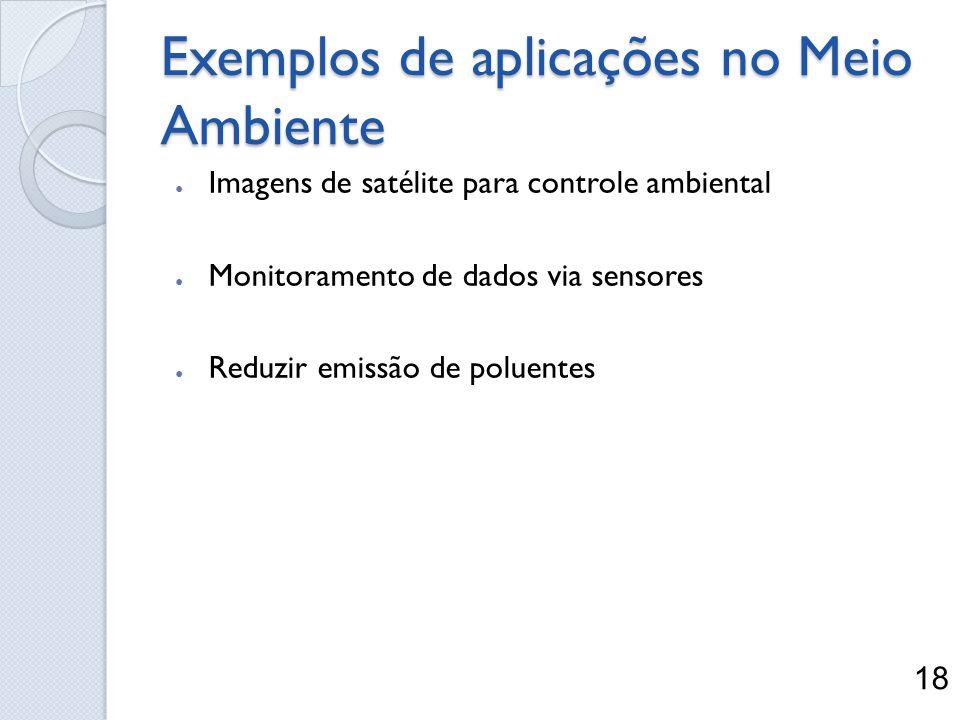 Exemplos de aplicações no Meio Ambiente Imagens de satélite para controle ambiental Monitoramento de dados via sensores Reduzir emissão de poluentes 1
