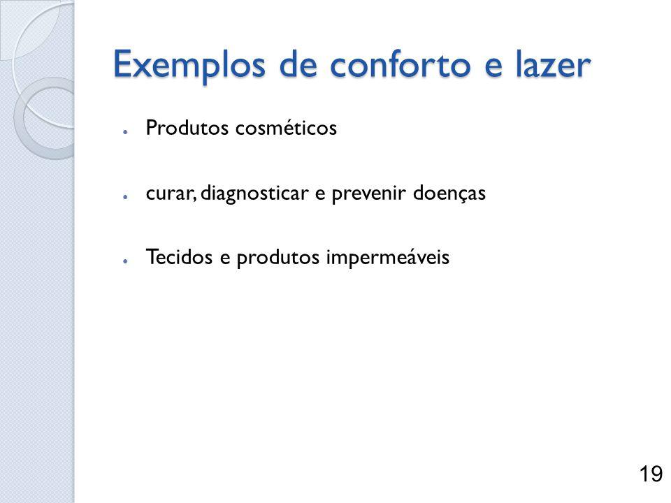 Exemplos de conforto e lazer Produtos cosméticos curar, diagnosticar e prevenir doenças Tecidos e produtos impermeáveis 19