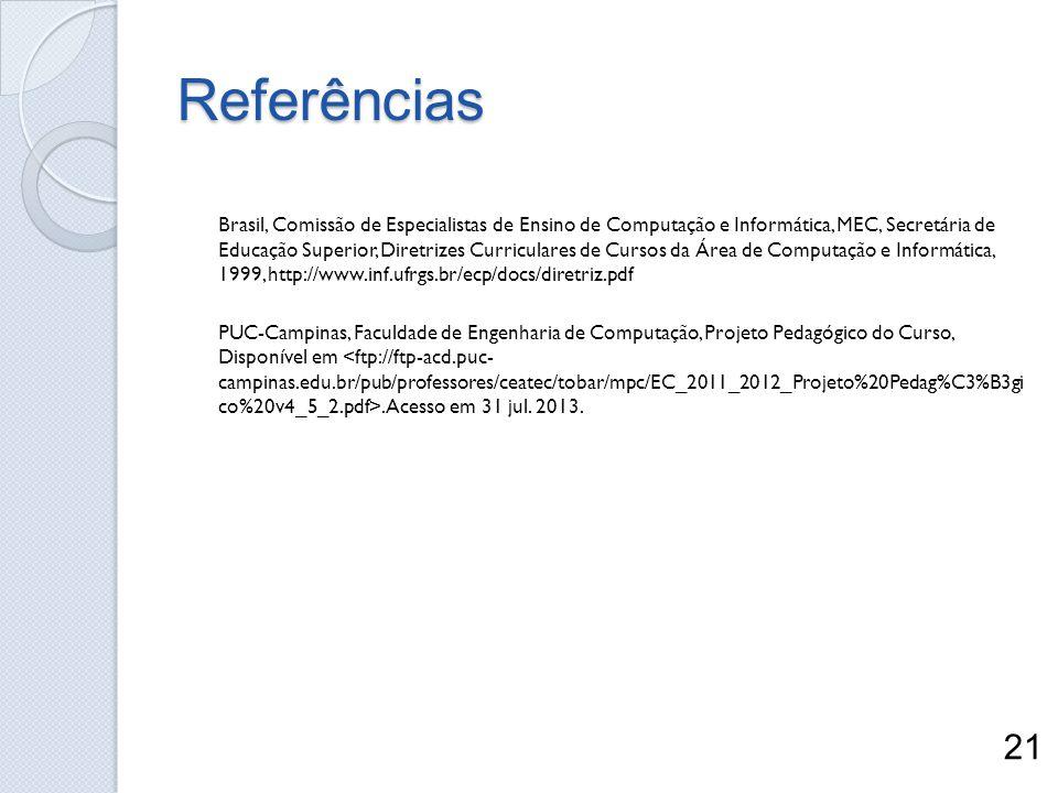Referências Brasil, Comissão de Especialistas de Ensino de Computação e Informática, MEC, Secretária de Educação Superior, Diretrizes Curriculares de