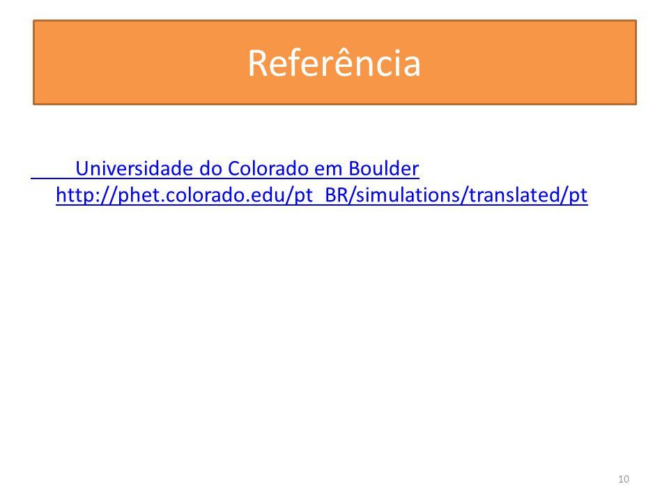 Referência Universidade do Colorado em Boulder http://phet.colorado.edu/pt_BR/simulations/translated/pt 10