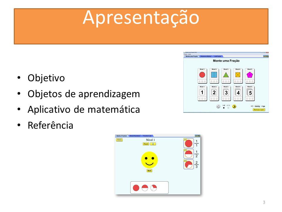 Apresentação Objetivo Objetos de aprendizagem Aplicativo de matemática Referência 3
