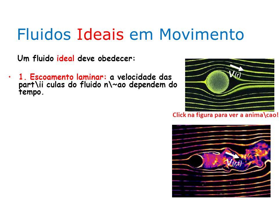 Fluidos Ideais em Movimento Um fluido ideal deve obedecer: 1. Escoamento laminar: a velocidade das part\ii culas do fluido n\~ao dependem do tempo. Cl