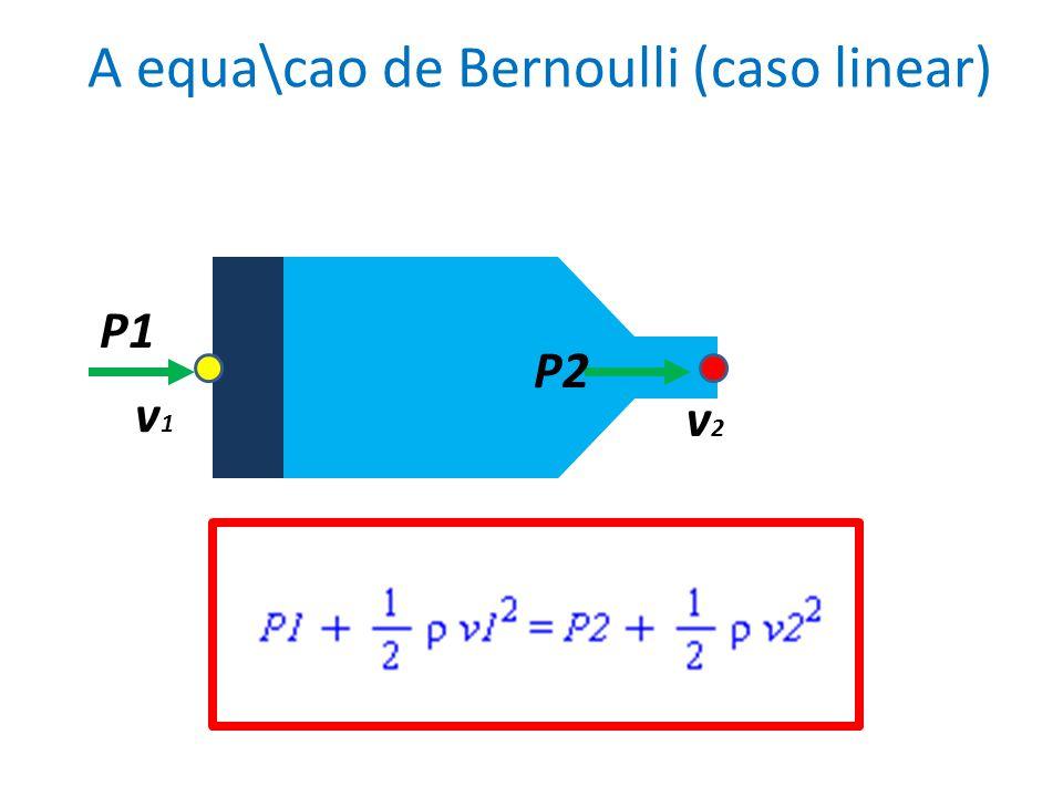 A equa\cao de Bernoulli (caso linear) v1v1 v2v2 P2 P1
