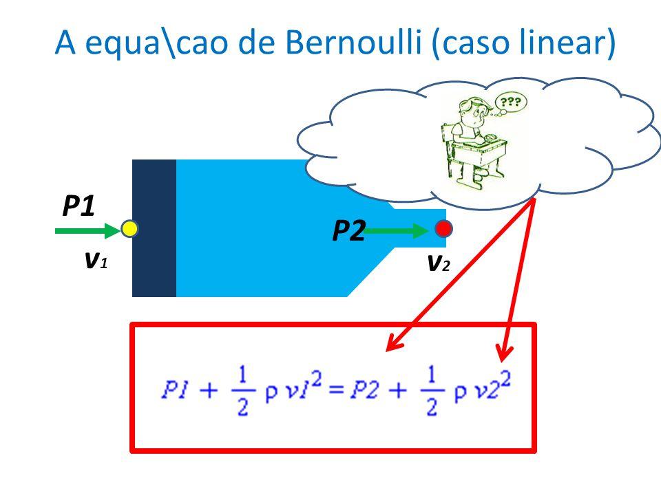 A equa\cao de Bernoulli (caso linear) v1v1 v2v2 P2 P1 Quanto maior \e a press\~ao menor \e a velocidade!