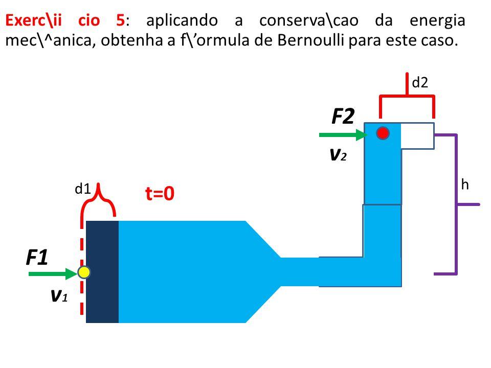 F1 d1 t=0 v1v1 v2v2 F2 Exerc\ii cio 5: aplicando a conserva\cao da energia mec\^anica, obtenha a f\ormula de Bernoulli para este caso. h d2