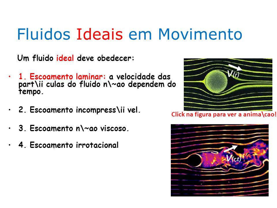 Fluidos Ideais em Movimento Um fluido ideal deve obedecer: 1. Escoamento laminar: a velocidade das part\ii culas do fluido n\~ao dependem do tempo. 2.