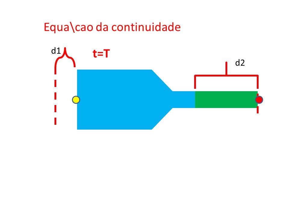 Equa\cao da continuidade d1 d2 t=T