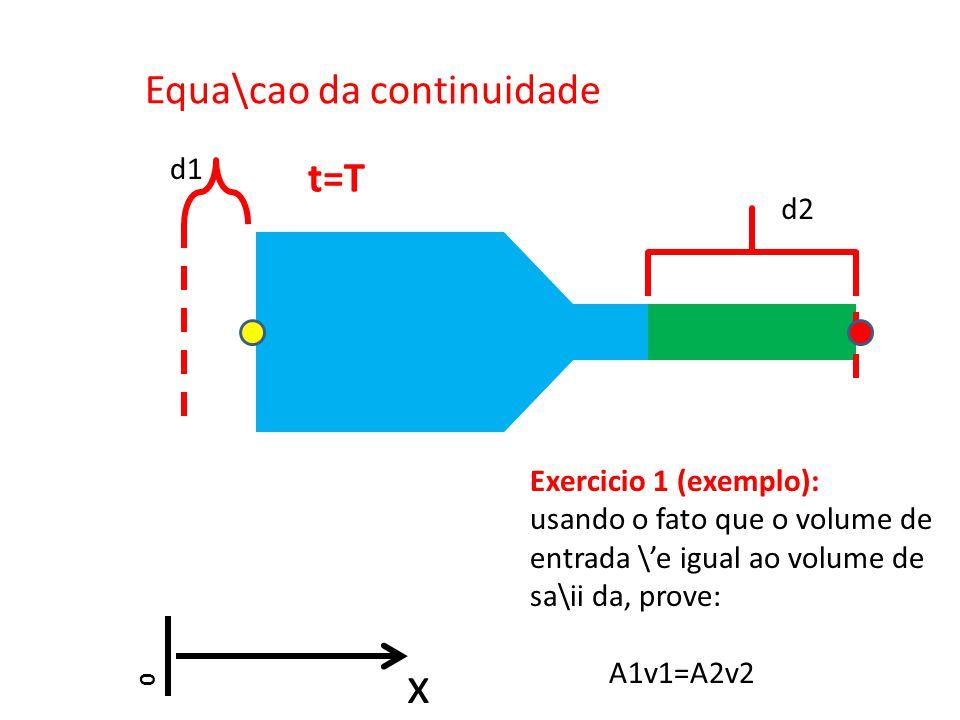 Equa\cao da continuidade Exercicio 1 (exemplo): usando o fato que o volume de entrada \e igual ao volume de sa\ii da, prove: A1v1=A2v2 0 x d1 d2 t=T