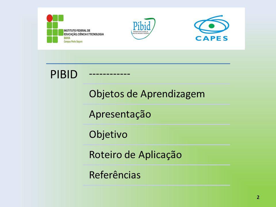 PIBID ------------ Objetos de Aprendizagem Apresentação Objetivo Roteiro de Aplicação Referências 2
