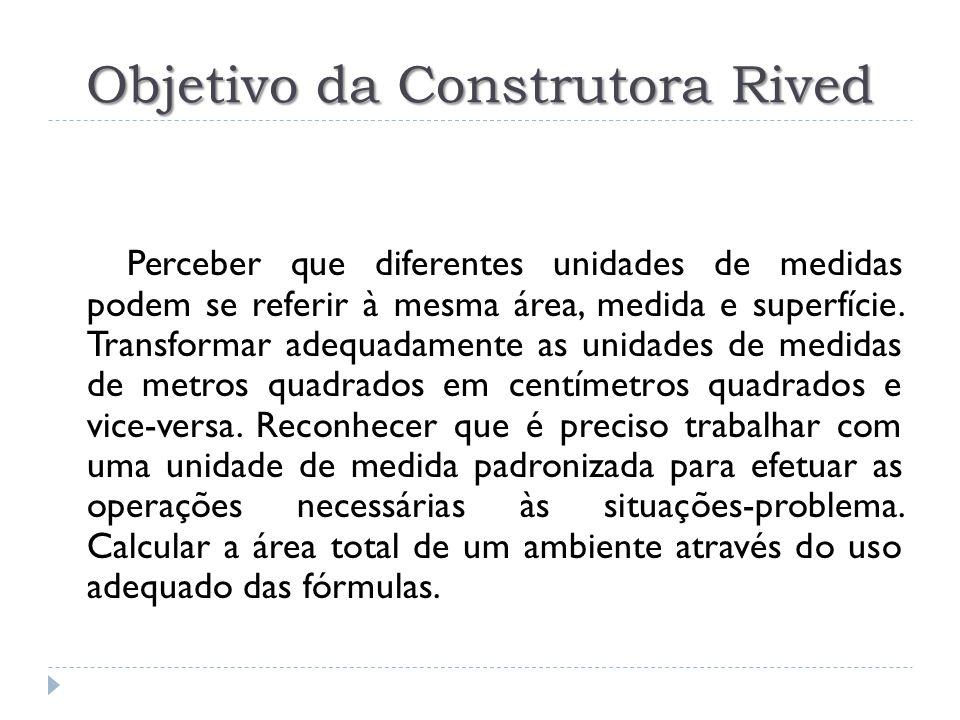 Objetivo da Construtora Rived Perceber que diferentes unidades de medidas podem se referir à mesma área, medida e superfície.