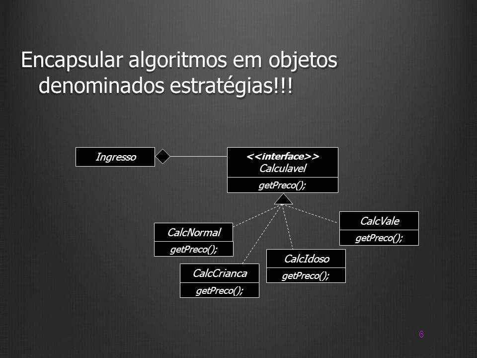 17 Strategy e Template Method public void exibirCabecalho(){ System.out.println(Cabecalho); System.out.println(...);...