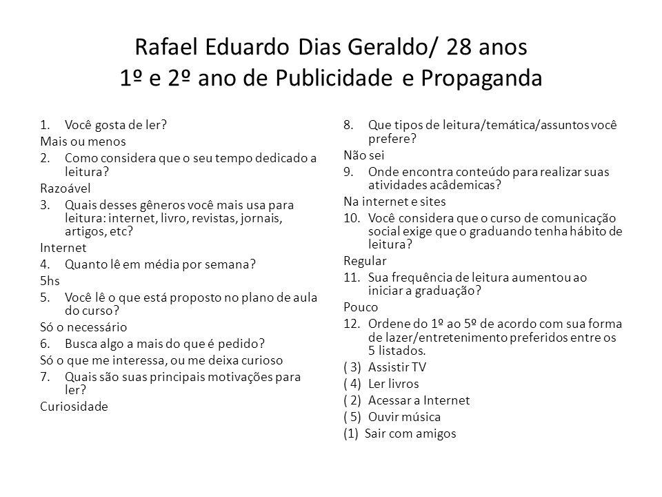 Rafael Eduardo Dias Geraldo/ 28 anos 1º e 2º ano de Publicidade e Propaganda 1.Você gosta de ler? Mais ou menos 2.Como considera que o seu tempo dedic