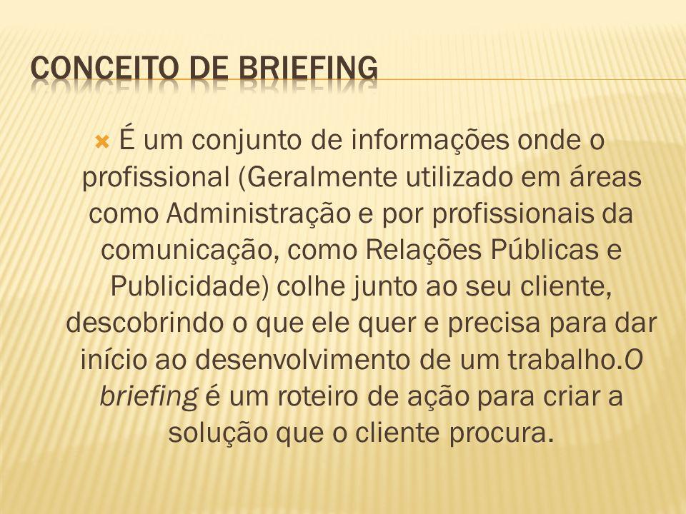 É um conjunto de informações onde o profissional (Geralmente utilizado em áreas como Administração e por profissionais da comunicação, como Relações P