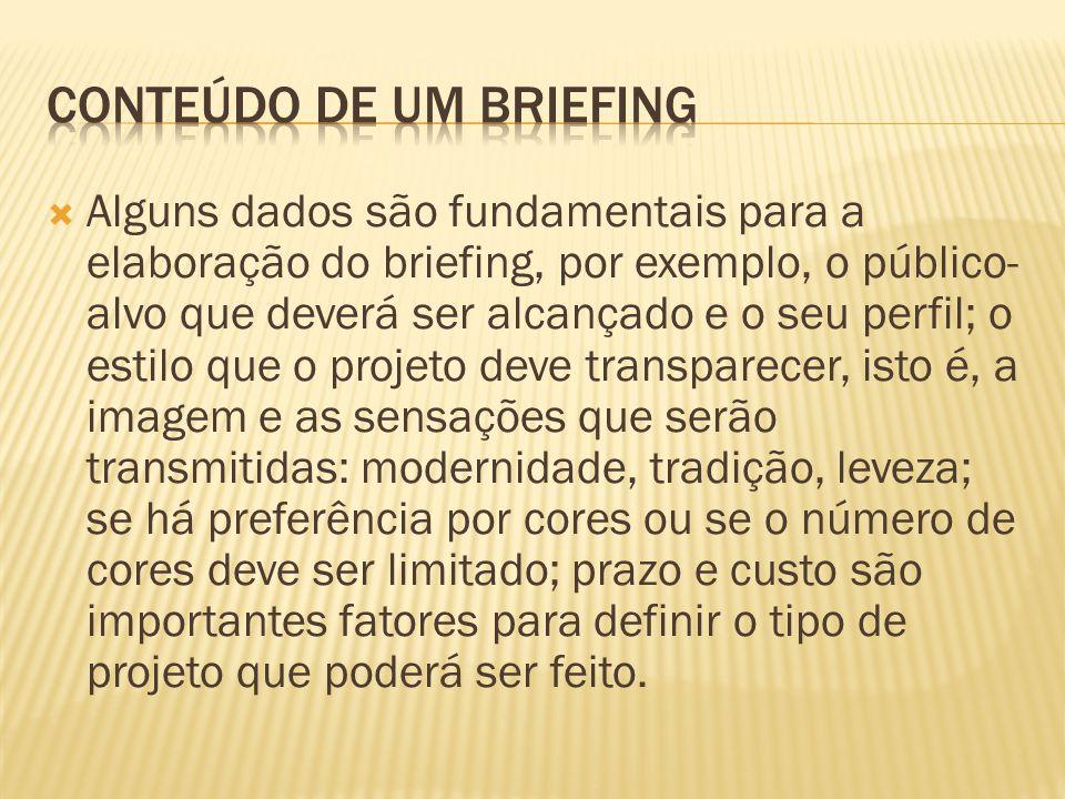 Alguns dados são fundamentais para a elaboração do briefing, por exemplo, o público- alvo que deverá ser alcançado e o seu perfil; o estilo que o proj