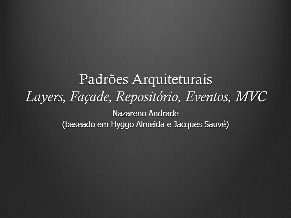 Padrões Arquiteturais Layers, Façade, Repositório, Eventos, MVC Nazareno Andrade (baseado em Hyggo Almeida e Jacques Sauvé)