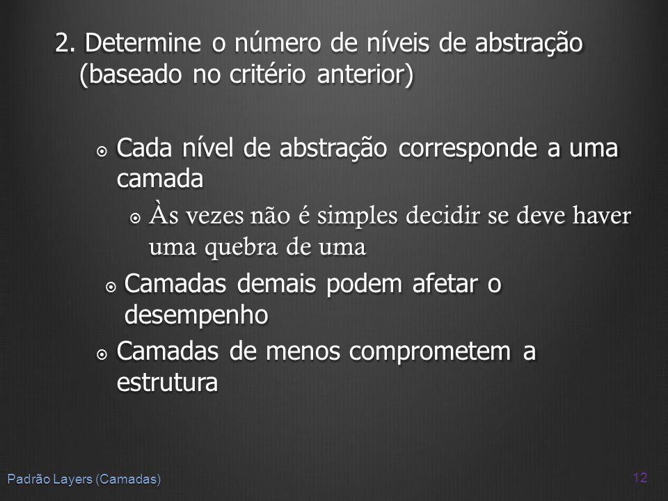 2. Determine o número de níveis de abstração (baseado no critério anterior) Cada nível de abstração corresponde a uma camada Cada nível de abstração c