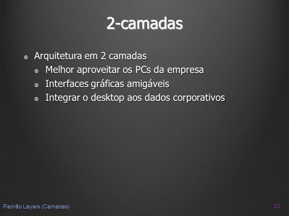 2-camadas Arquitetura em 2 camadas Arquitetura em 2 camadas Melhor aproveitar os PCs da empresa Melhor aproveitar os PCs da empresa Interfaces gráfica