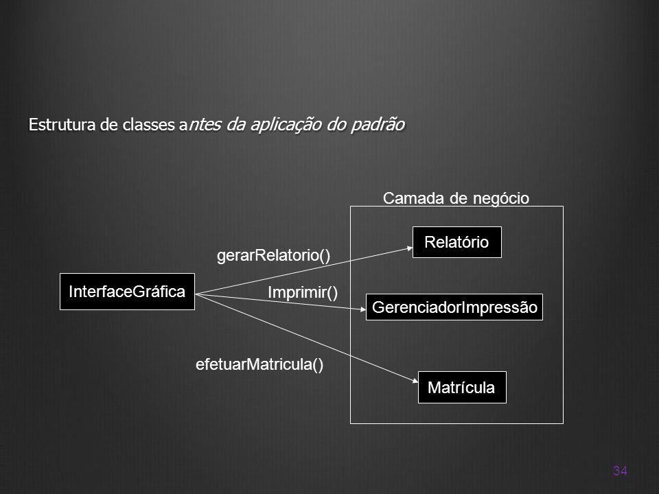 34 Estrutura de classes a ntes da aplicação do padrão Matrícula Relatório GerenciadorImpressão InterfaceGráfica efetuarMatricula() gerarRelatorio() Ca