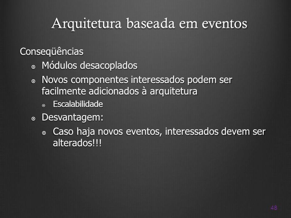 48 Arquitetura baseada em eventos Conseqüências Módulos desacoplados Módulos desacoplados Novos componentes interessados podem ser facilmente adiciona