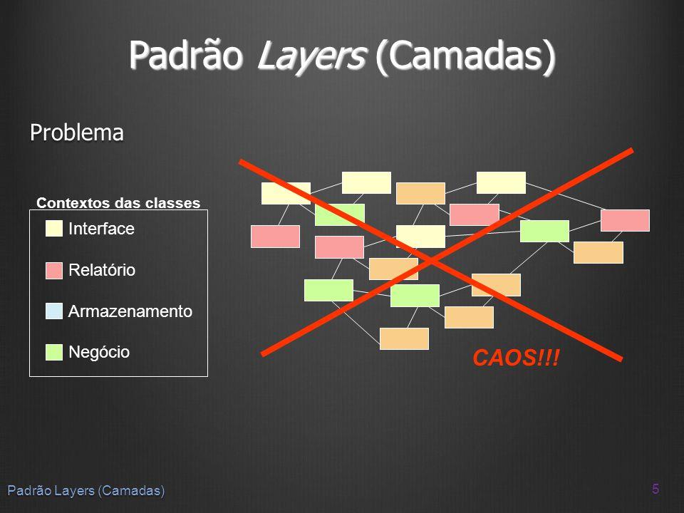 Solução Decomposição do sistema: partições e camadas Decomposição do sistema: partições e camadas Uma camada é um subsistema que adiciona valor a subsistemas de menor nível de abstração Uma camada é um subsistema que adiciona valor a subsistemas de menor nível de abstração Uma partição é um subsistema paralelo a outros subsistemas Uma partição é um subsistema paralelo a outros subsistemas 6 Padrão Layers (Camadas) Camada n Camada 2 Camada 1 Partição n_1Partição n_2Partição n_3Partição n_4 Partição 2_1Partição 2_2Partição 2_3Partição 2_4 Partição 1_1Partição 1_2