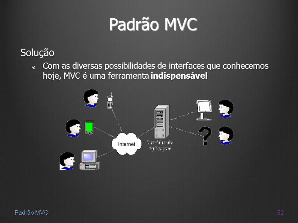 52 Padrão MVC Solução Com as diversas possibilidades de interfaces que conhecemos hoje, MVC é uma ferramenta indispensável Com as diversas possibilida