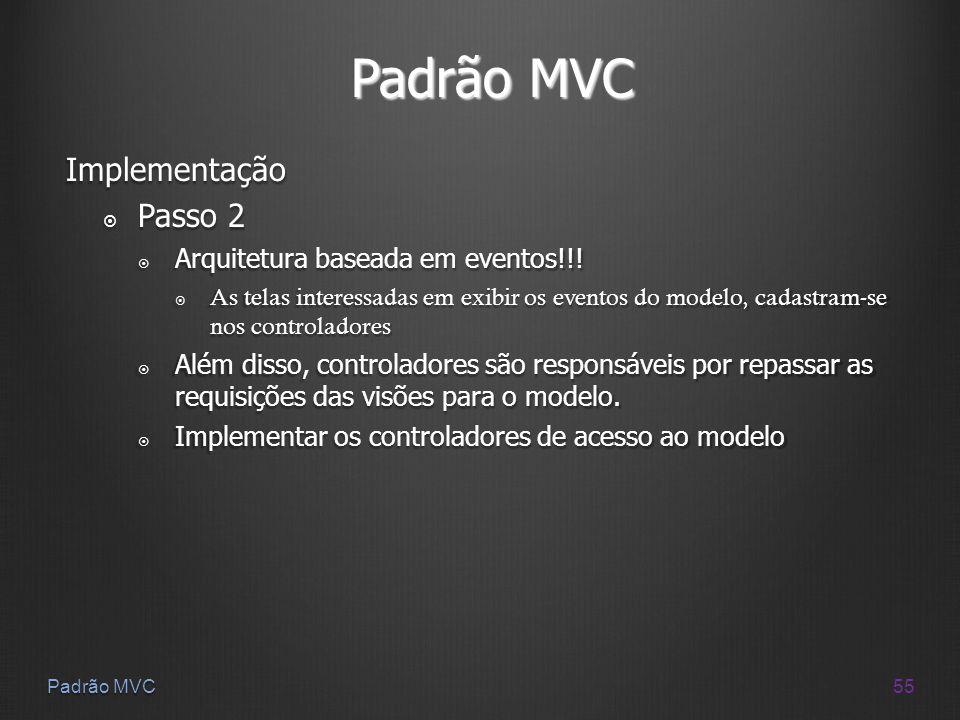 55 Padrão MVC Implementação Passo 2 Passo 2 Arquitetura baseada em eventos!!! Arquitetura baseada em eventos!!! As telas interessadas em exibir os eve
