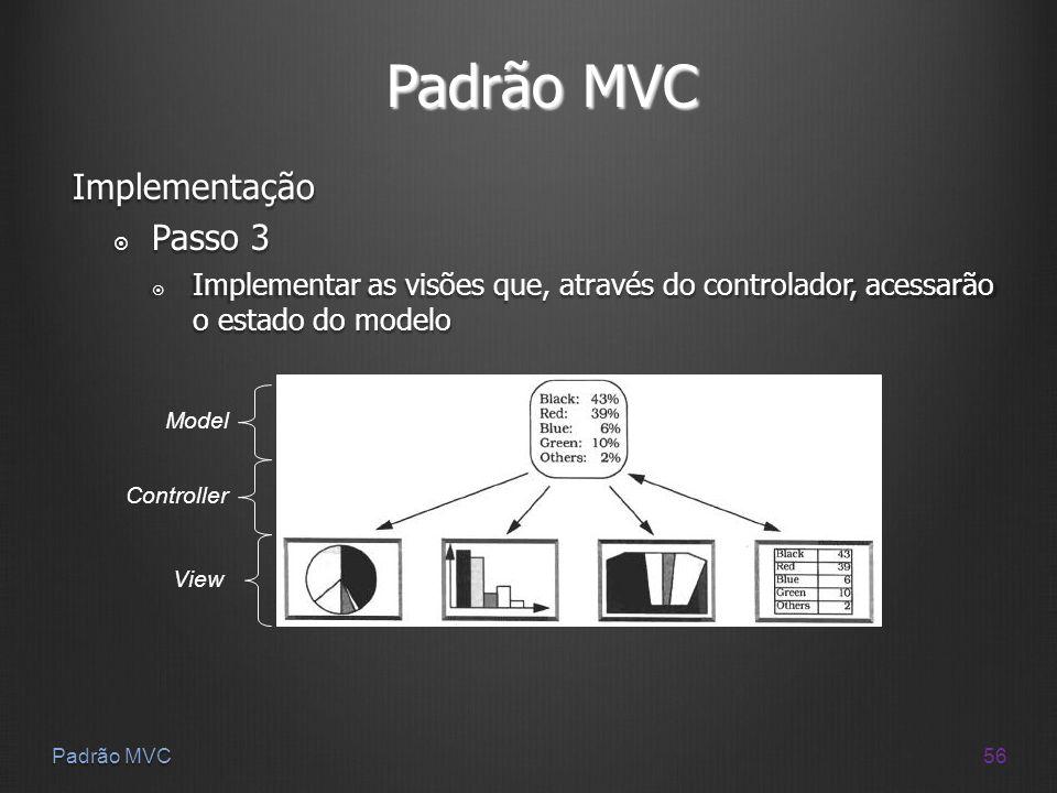 56 Padrão MVC Implementação Passo 3 Passo 3 Implementar as visões que, através do controlador, acessarão o estado do modelo Implementar as visões que,