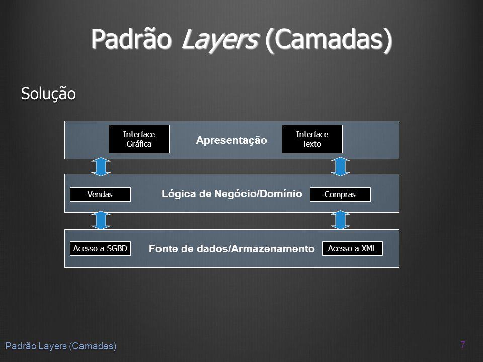 Padrão Layers (Camadas) Solução 7 Apresentação Lógica de Negócio/Domínio Fonte de dados/Armazenamento Interface Gráfica Interface Texto VendasCompras