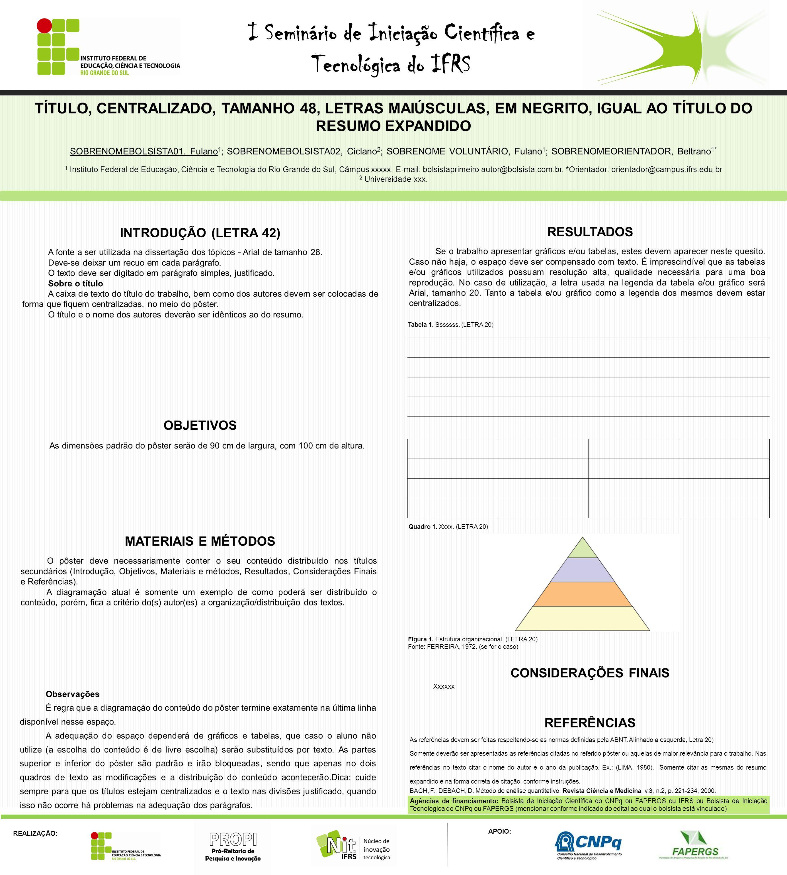 REALIZAÇÃO: APOIO: I Seminário de Iniciação Científica e Tecnológica do IFRS As referências devem ser feitas respeitando-se as normas definidas pela A