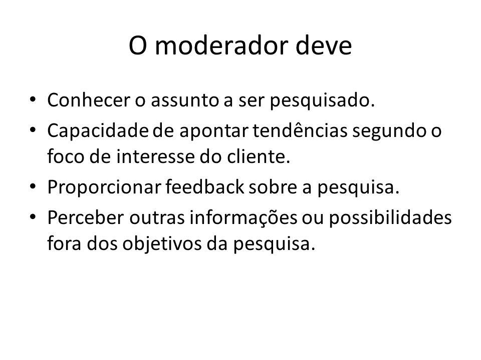 O moderador deve Conhecer o assunto a ser pesquisado. Capacidade de apontar tendências segundo o foco de interesse do cliente. Proporcionar feedback s