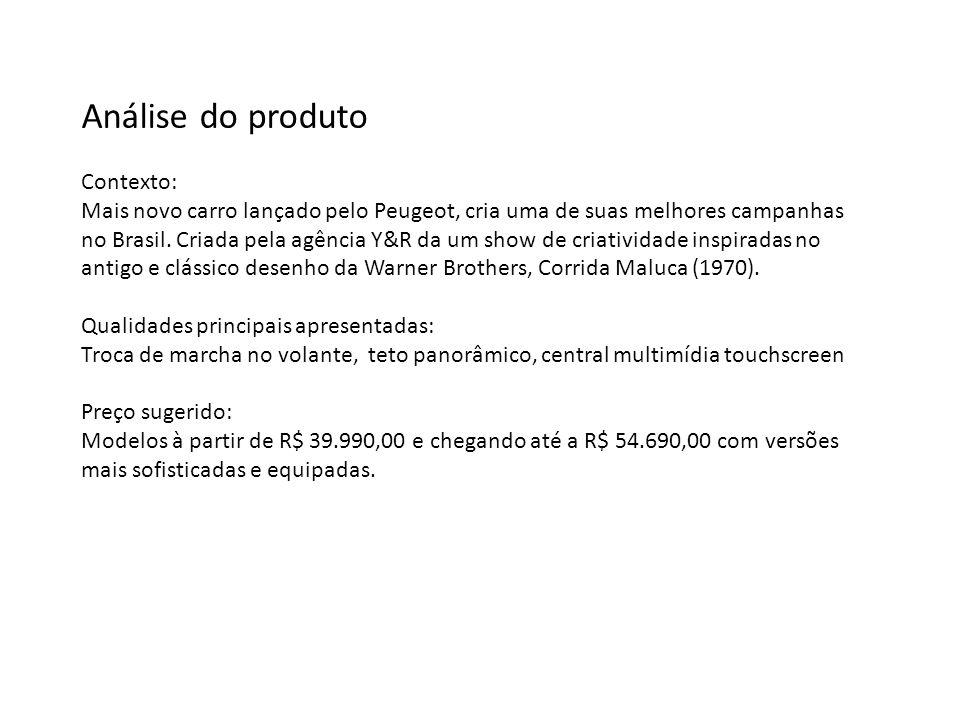 Análise do produto Contexto: Mais novo carro lançado pelo Peugeot, cria uma de suas melhores campanhas no Brasil.