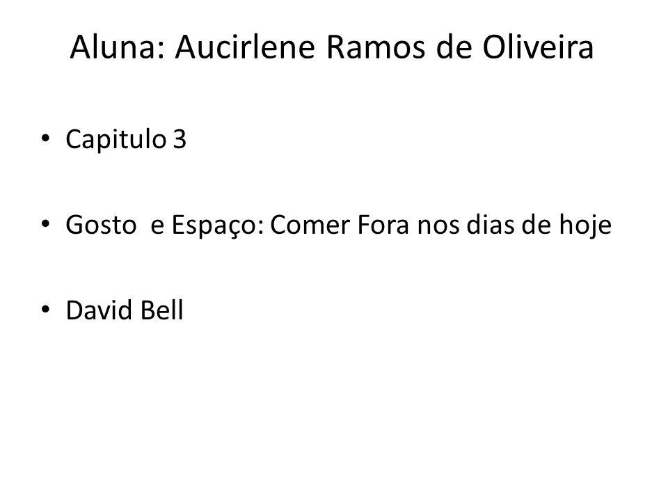 Aluna: Aucirlene Ramos de Oliveira Capitulo 3 Gosto e Espaço: Comer Fora nos dias de hoje David Bell