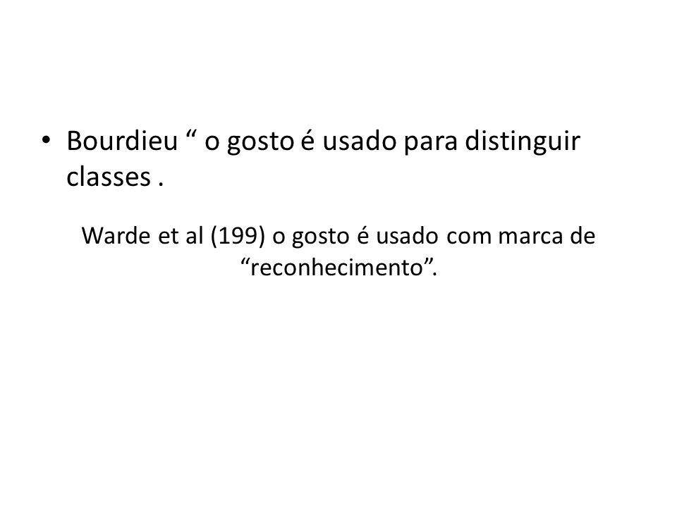 Warde et al (199) o gosto é usado com marca de reconhecimento. Bourdieu o gosto é usado para distinguir classes.