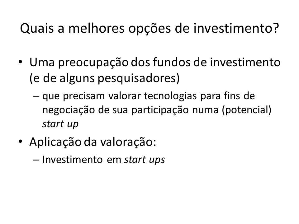 Quais a melhores opções de investimento? Uma preocupação dos fundos de investimento (e de alguns pesquisadores) – que precisam valorar tecnologias par