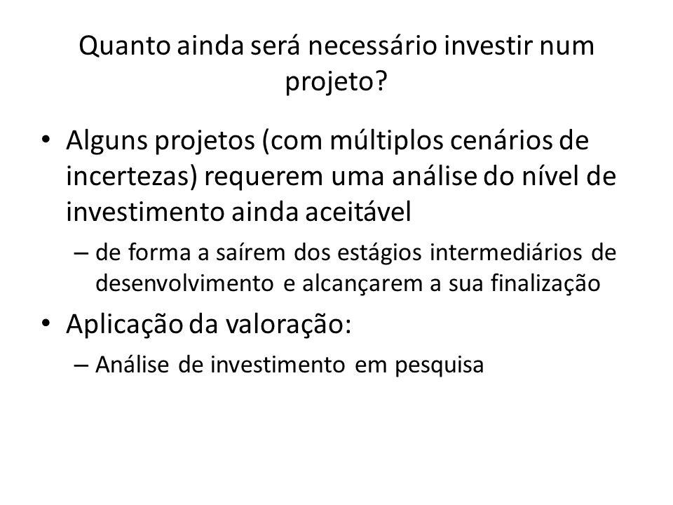 Quanto ainda será necessário investir num projeto? Alguns projetos (com múltiplos cenários de incertezas) requerem uma análise do nível de investiment