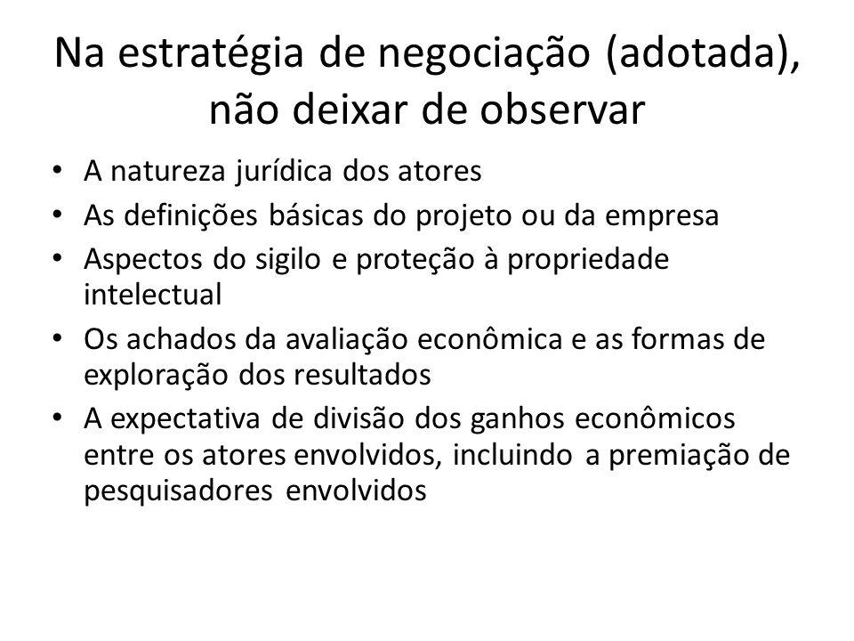 Na estratégia de negociação (adotada), não deixar de observar A natureza jurídica dos atores As definições básicas do projeto ou da empresa Aspectos d