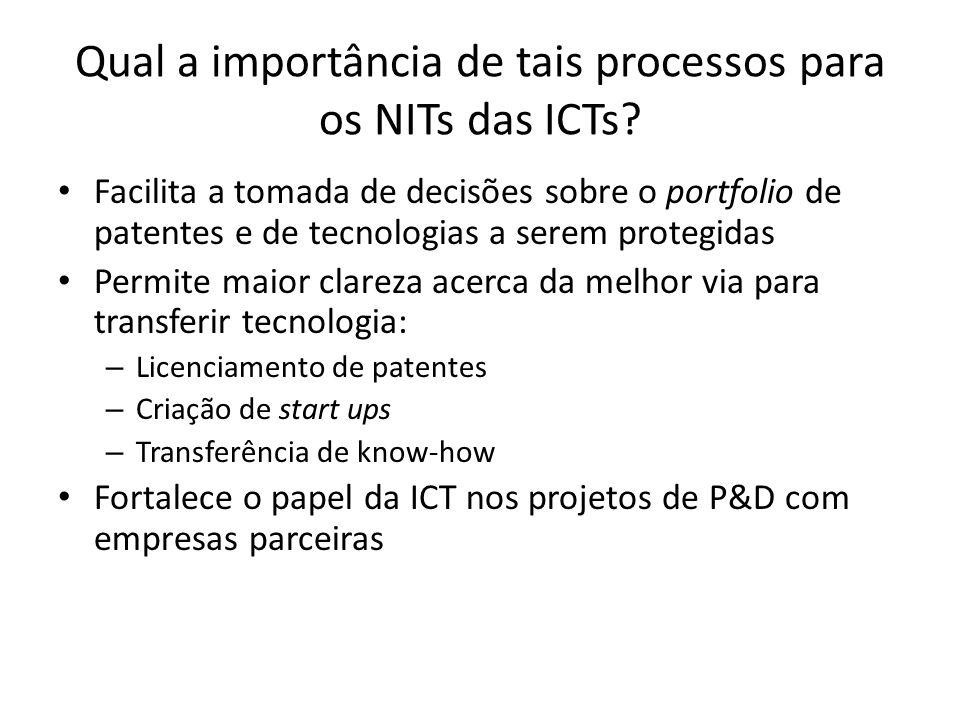 Qual a importância de tais processos para os NITs das ICTs? Facilita a tomada de decisões sobre o portfolio de patentes e de tecnologias a serem prote