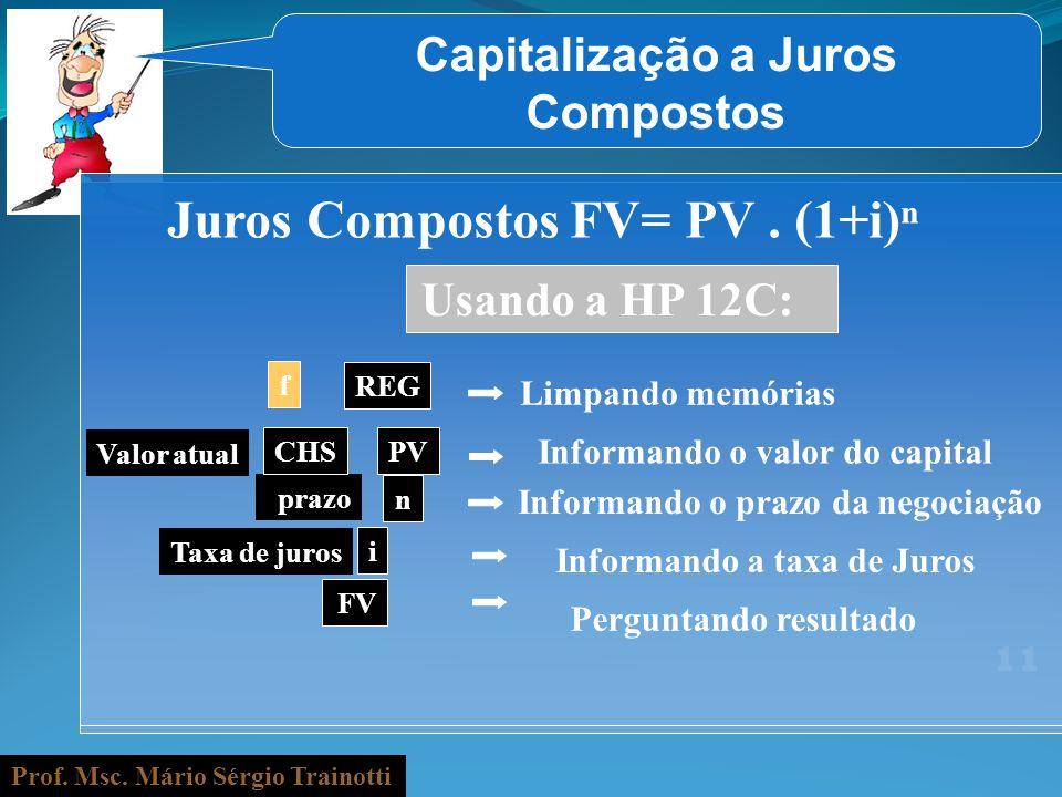 Prof. Msc. Mário Sérgio Trainotti 11 Capitalização a Juros Compostos Juros Compostos FV= PV. (1+i) f REG Valor atual Informando o valor do capital pra