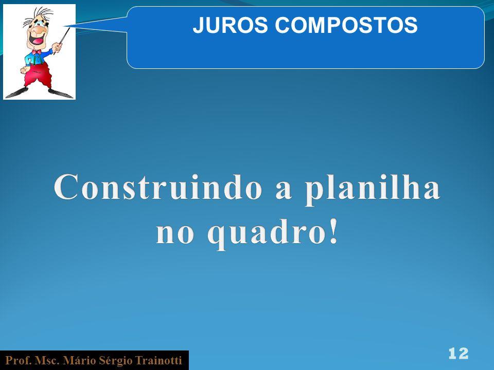 Prof. Msc. Mário Sérgio Trainotti 12 JUROS COMPOSTOS