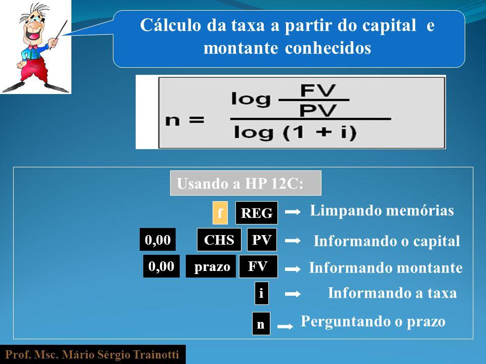 Prof. Msc. Mário Sérgio Trainotti 0,00 fREG Informando o capital prazo n Informando a taxa i Informando montante PV Perguntando o prazo CHS FV Usando