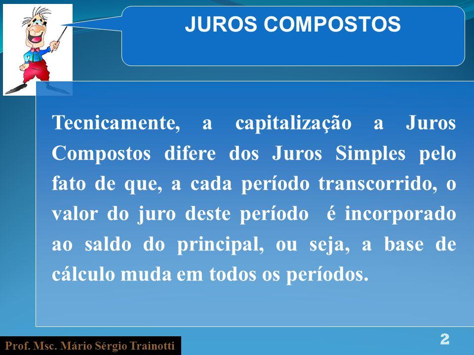 Prof. Msc. Mário Sérgio Trainotti 2 JUROS COMPOSTOS Tecnicamente, a capitalização a Juros Compostos difere dos Juros Simples pelo fato de que, a cada