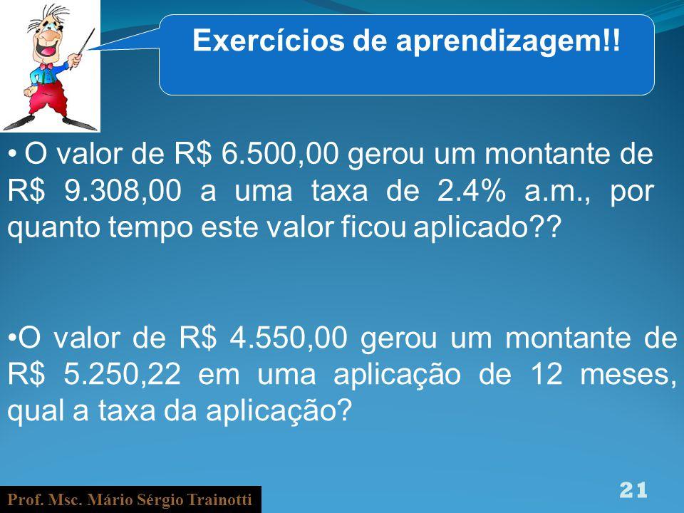 Prof. Msc. Mário Sérgio Trainotti 21 Exercícios de aprendizagem!! O valor de R$ 6.500,00 gerou um montante de R$ 9.308,00 a uma taxa de 2.4% a.m., por
