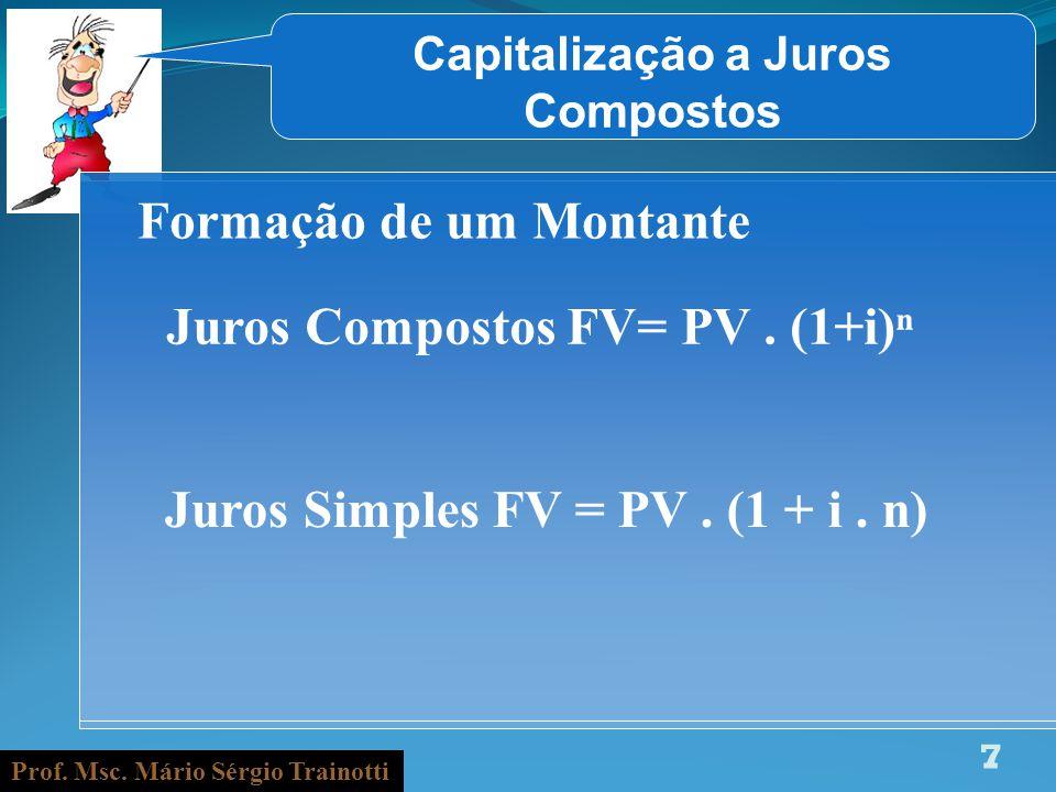 Prof. Msc. Mário Sérgio Trainotti 7 Capitalização a Juros Compostos Formação de um Montante Juros Compostos FV= PV. (1+i) Juros Simples FV = PV. (1 +