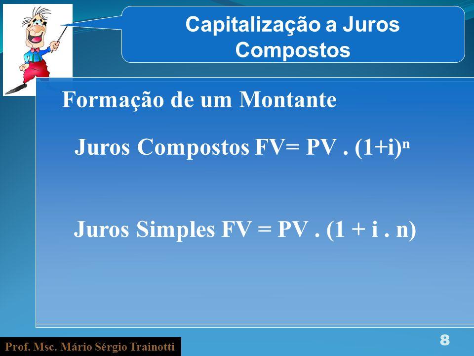 Prof. Msc. Mário Sérgio Trainotti 8 Capitalização a Juros Compostos Formação de um Montante Juros Compostos FV= PV. (1+i) Juros Simples FV = PV. (1 +