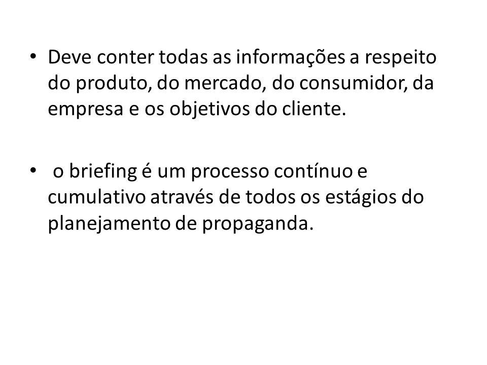 Deve conter todas as informações a respeito do produto, do mercado, do consumidor, da empresa e os objetivos do cliente. o briefing é um processo cont