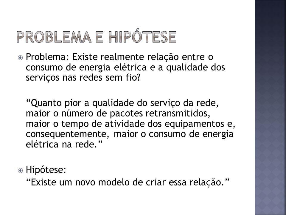 Problema: Existe realmente relação entre o consumo de energia elétrica e a qualidade dos serviços nas redes sem fio.