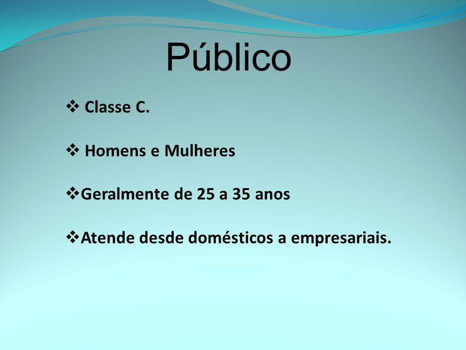 Público Classe C. Homens e Mulheres Geralmente de 25 a 35 anos Atende desde domésticos a empresariais.