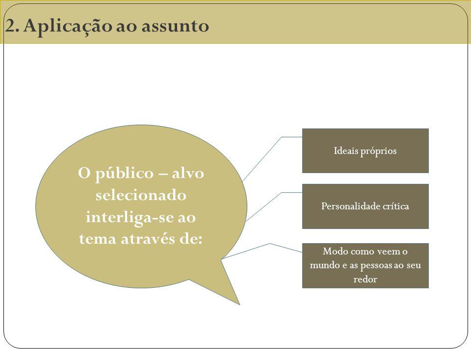 2. Aplicação ao assunto O público – alvo selecionado interliga-se ao tema através de: Ideais próprios Personalidade crítica Modo como veem o mundo e a