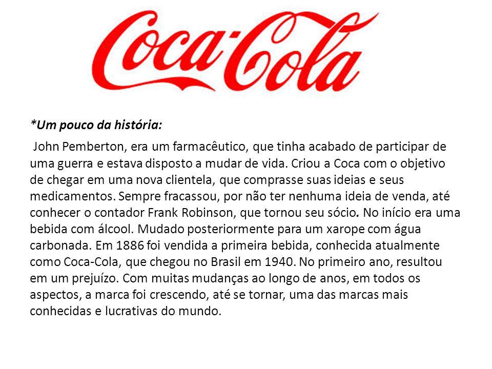EMPRESA: The Coca-Cola Company Produto: Coca-Cola *Dados do produto: -Aspectos e características: The Coca-Cola Company é uma corporação multinacional americana de bebidas não alcoólicas e concentrados de xaropes, fabricante e comerciante.
